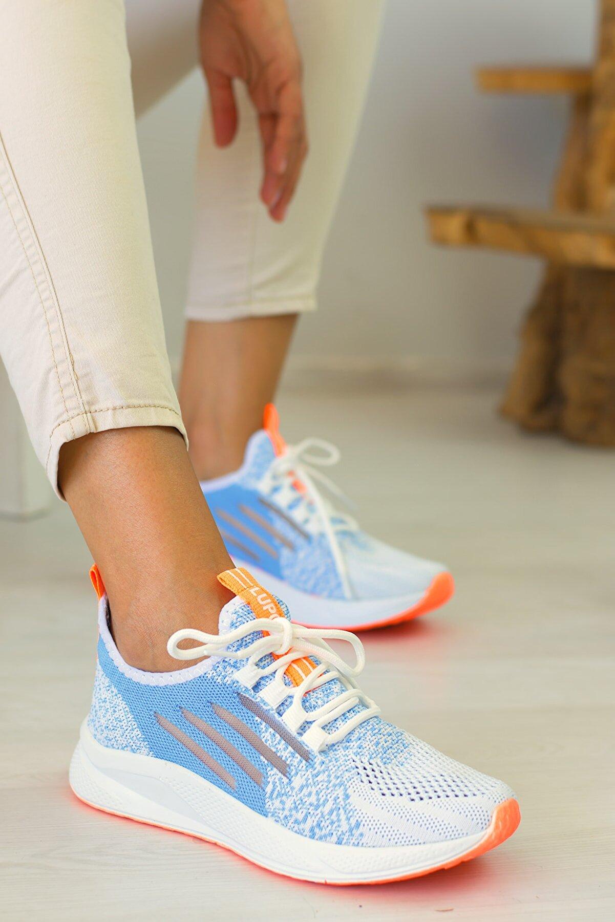 Loppo Kadın Triko Bağcıklı Sneaker Spor Ayakkabı 507 (BİR BEDEN KÜÇÜK SİPARİŞ VERİNİZ)