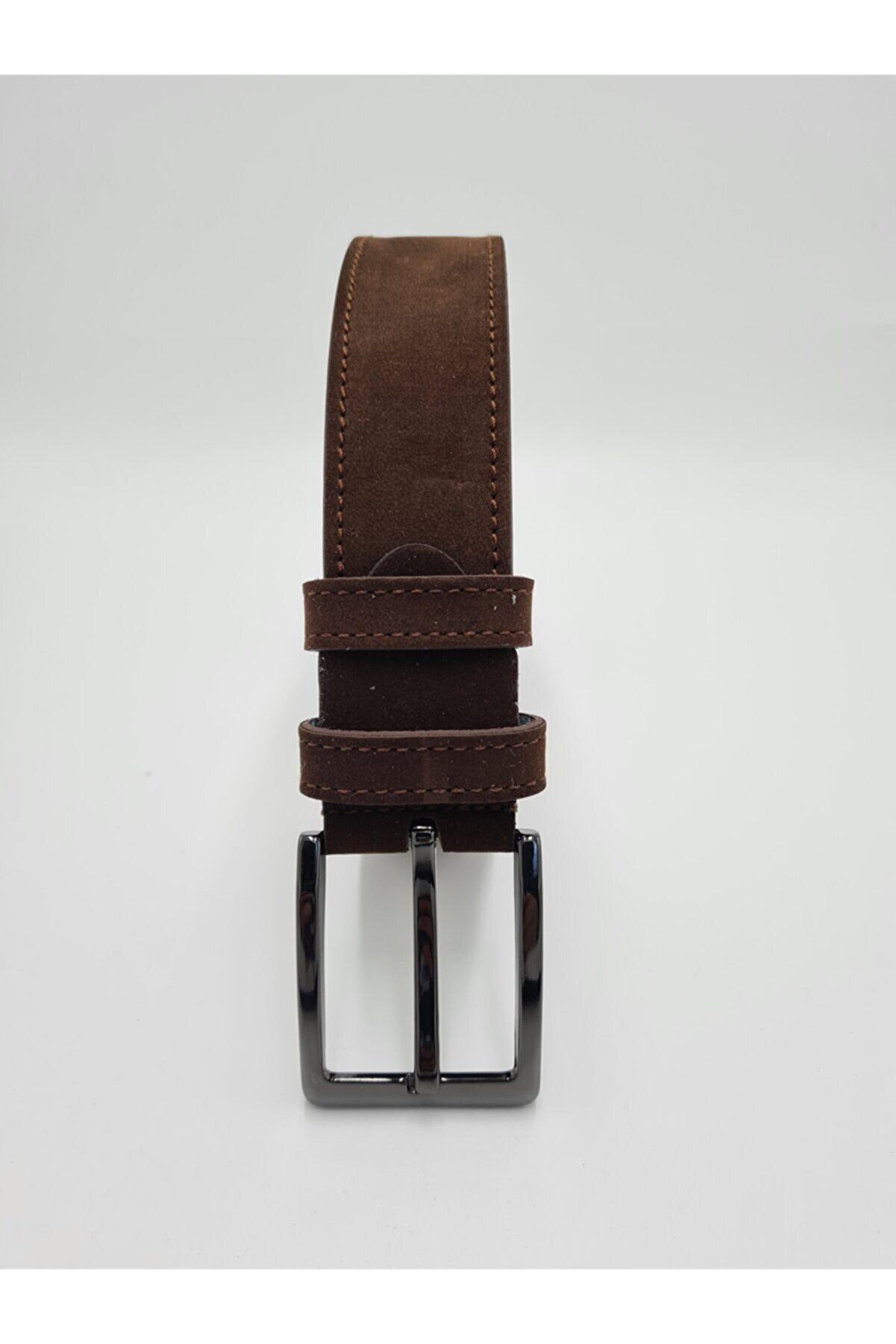 Yage Unisex Kahverengi Süet Spor Kemer 4cm