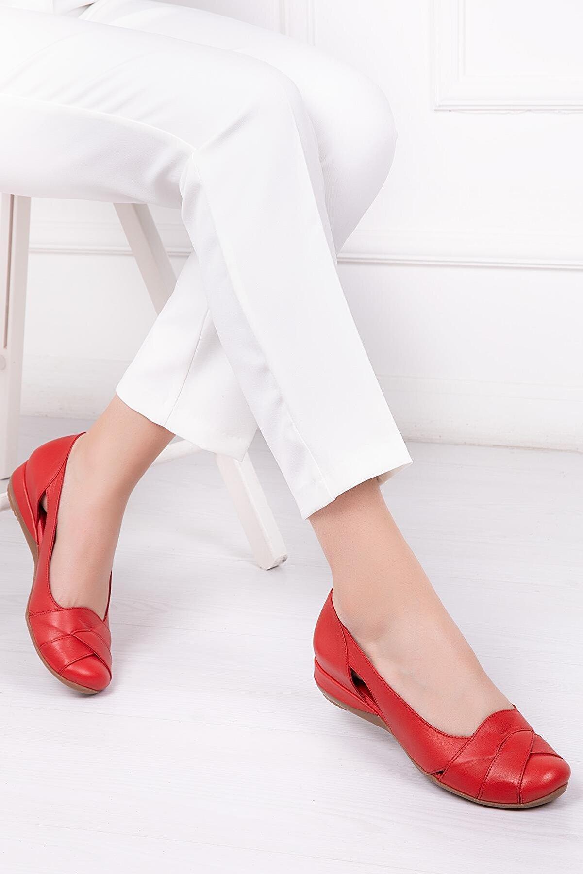 Deripabuc Hakiki Deri Kırmızı Kadın Deri Babet Trc-4000