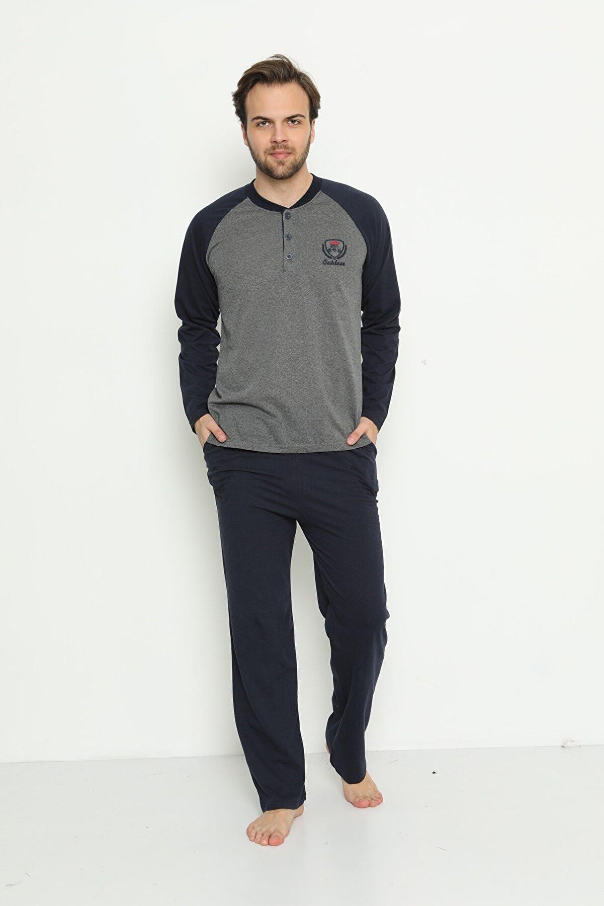 Akasya Erkek Gri Uzun Kollu Cepli ve Yaka Düğmeli Süprem Pijama Takımı 01737
