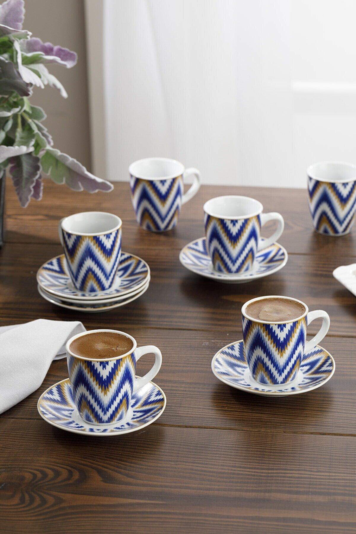 English Home Eva Porselen 6'lı Kahve Fincan Takımı 100 ml Mavi