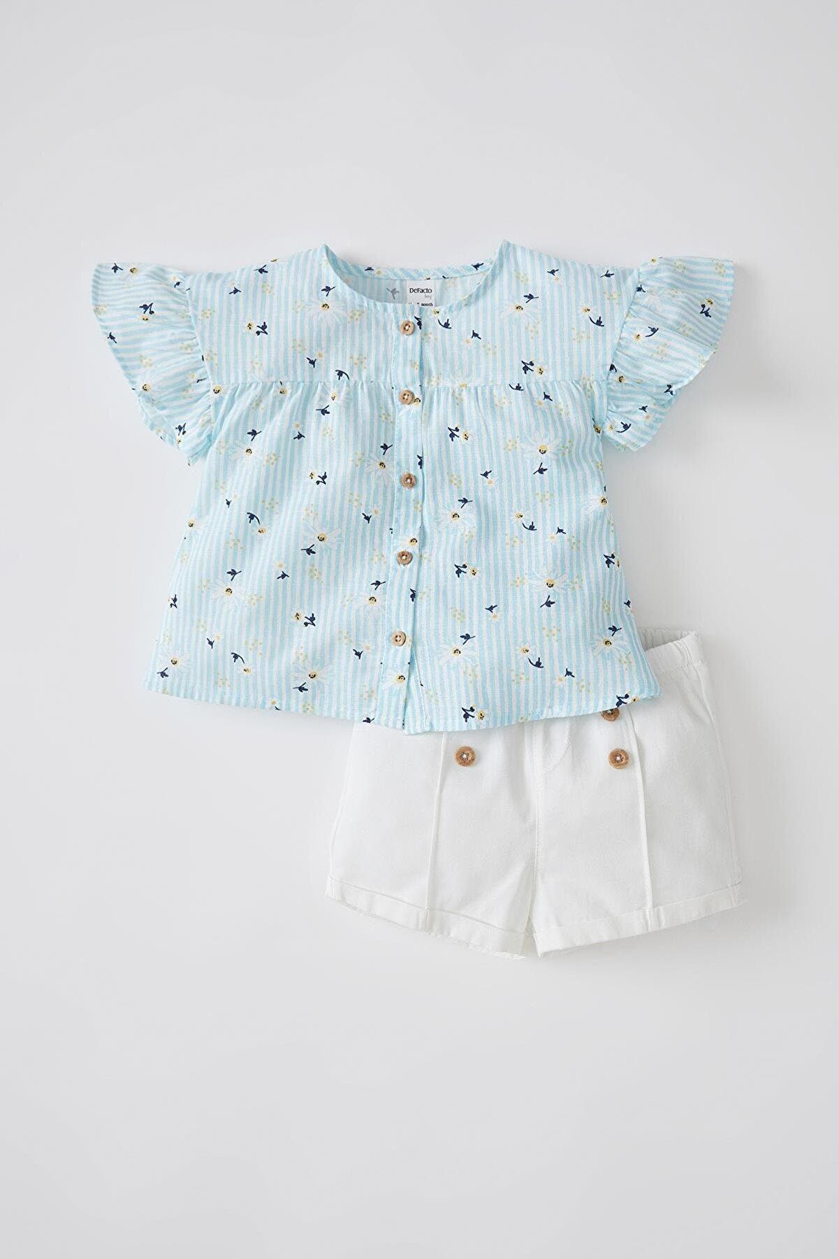 Defacto Kız Bebek Desenli Kısa Kollu Bluz Ve Şort Takımı V7994A221HSE