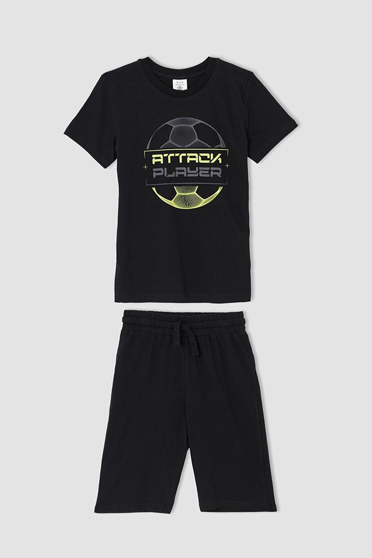Defacto Erkek Çocuk Baskılı Kısa Kollu Tişört Ve Şort Takımı V6367A621HS