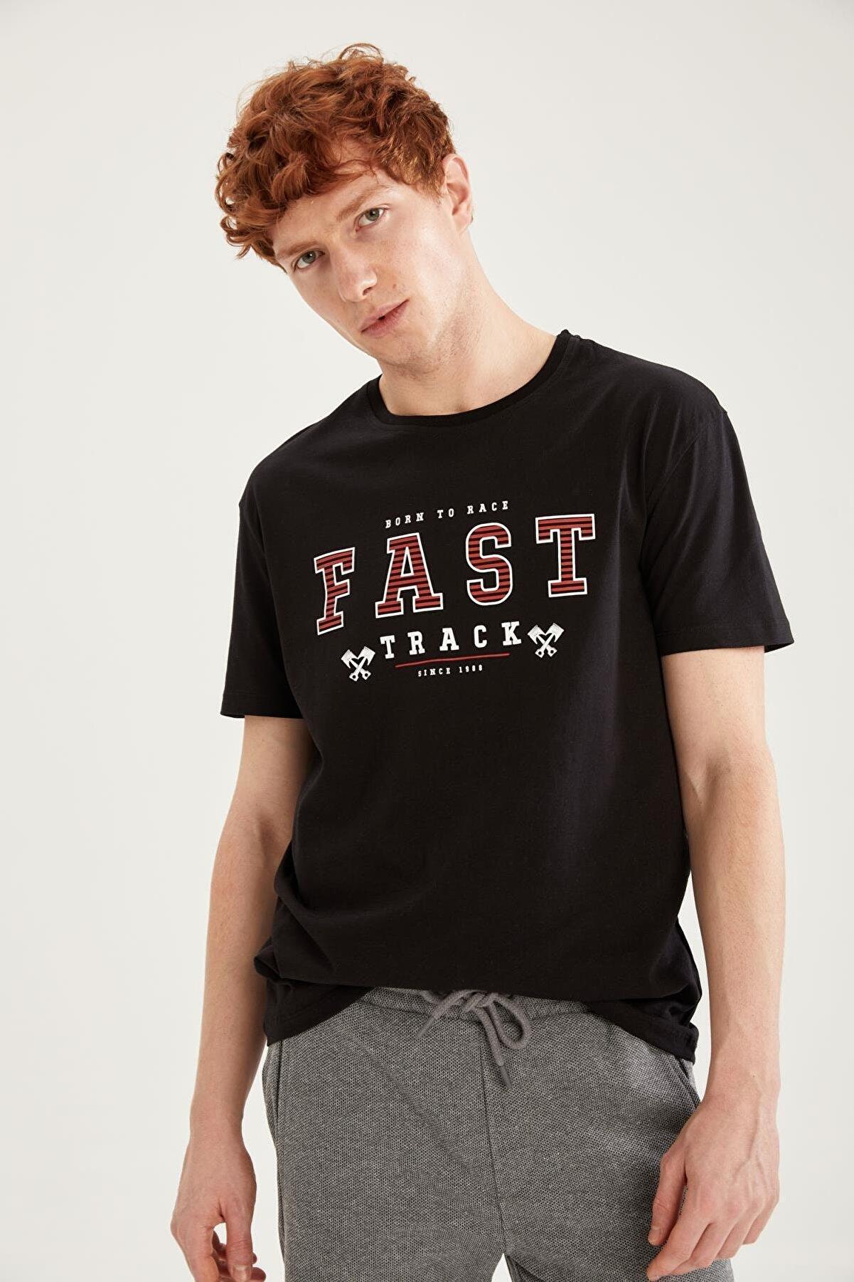 Defacto Erkek Siyah Regular Fit Baskılı Kısa Kollu T-Shirt