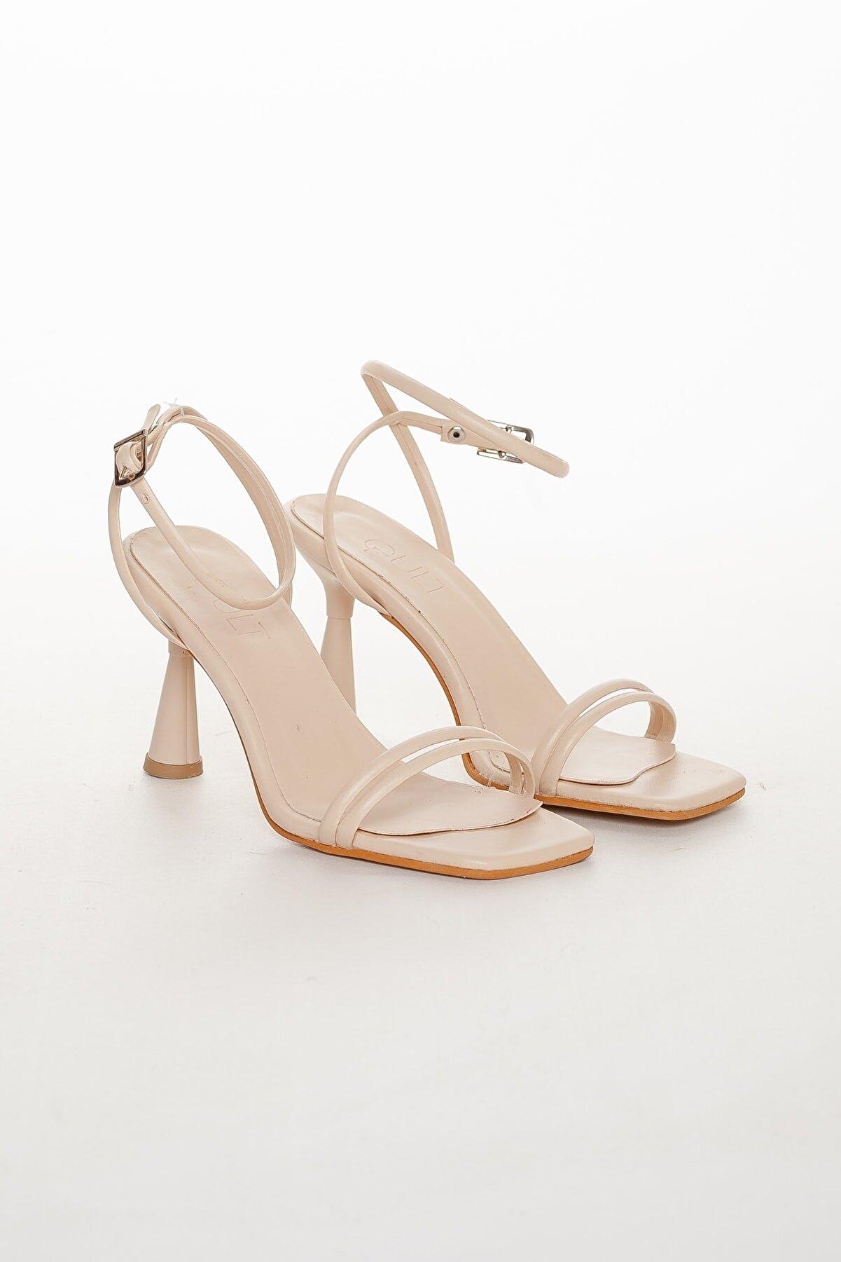 GULT Kadın Bej Yazlık Topuklu Ayakkabı