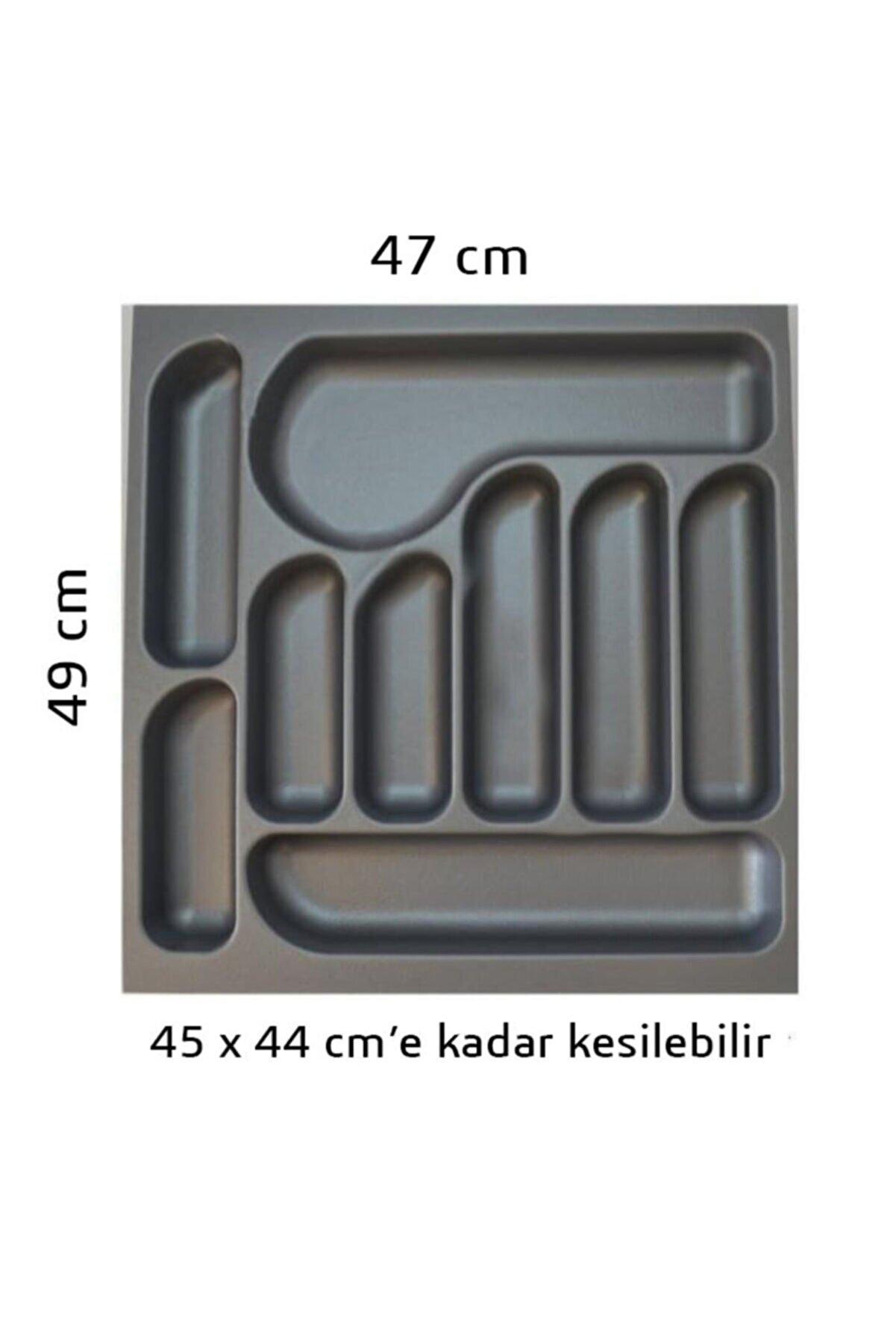 AYTFIX 47x49 (45x44'e Kadar Kesilebilir) Gri Çekmece Içi Kaşıklık