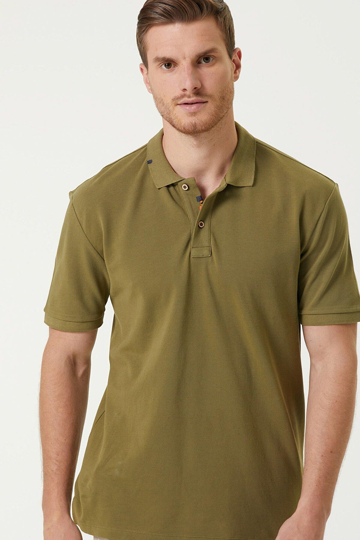 Network Erkek Slim Fit Haki Polo Yaka T-shirt 1079747