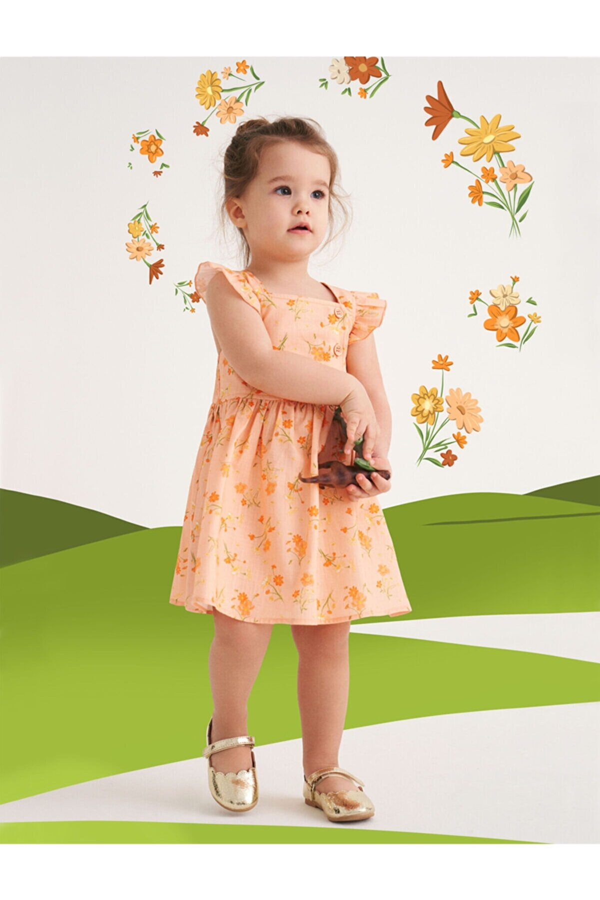 Koton Kız Bebek Turuncu Desenli Çiçekli Elbise Pamuklu