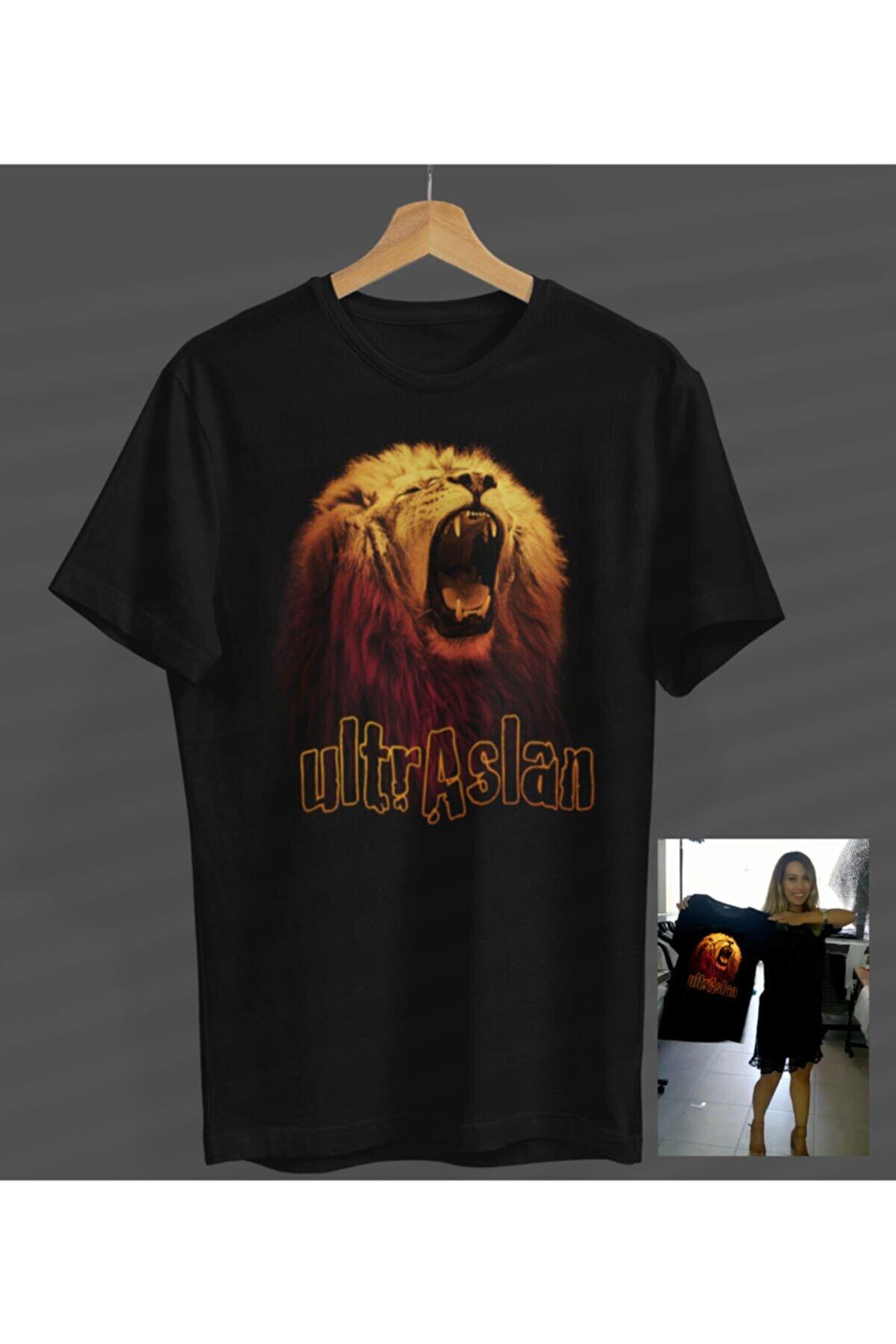 NOVUMUS Unisex Kadın-erkek Siyah Aslan Ultra Yuvarlak Yaka T-shirt
