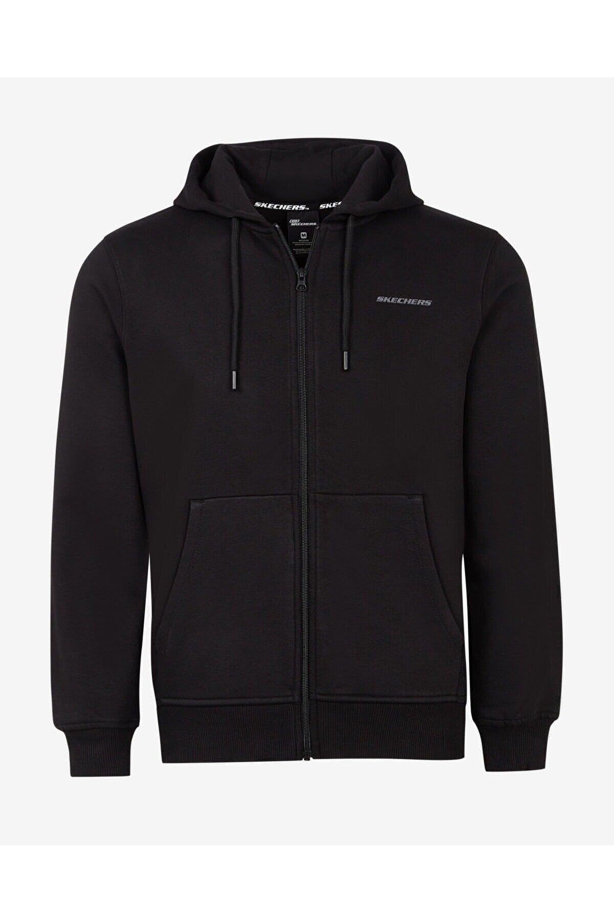 Skechers LW Fleece M Full Zip Jacket Erkek Siyah Fermuarlı Eşofman Üstü