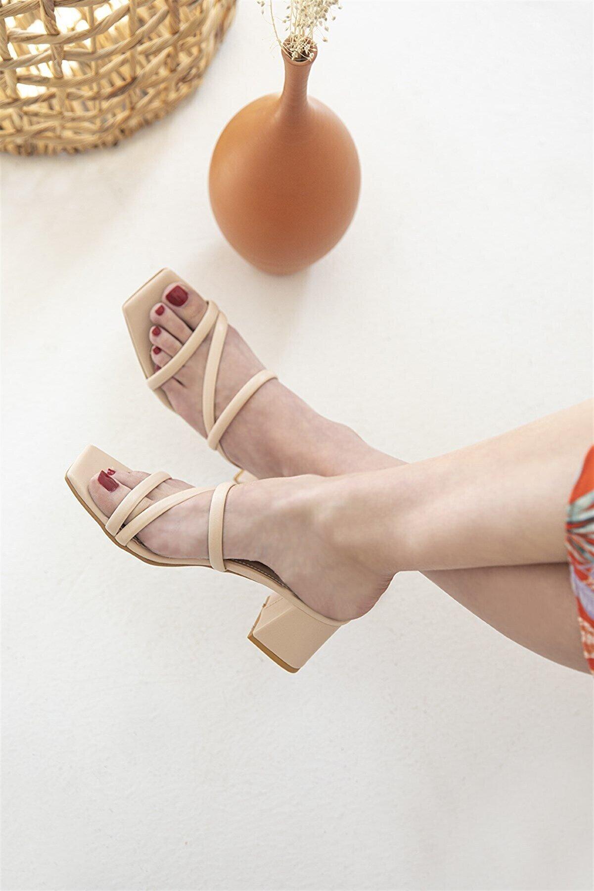 Straswans Amani Bayan Deri Topuklu Sandalet Ten
