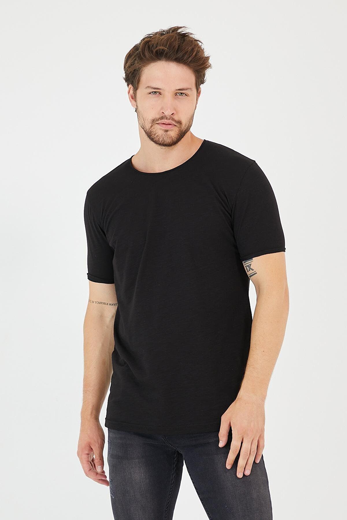 Barazza Erkek Flamlı Basic Tişört Siyah