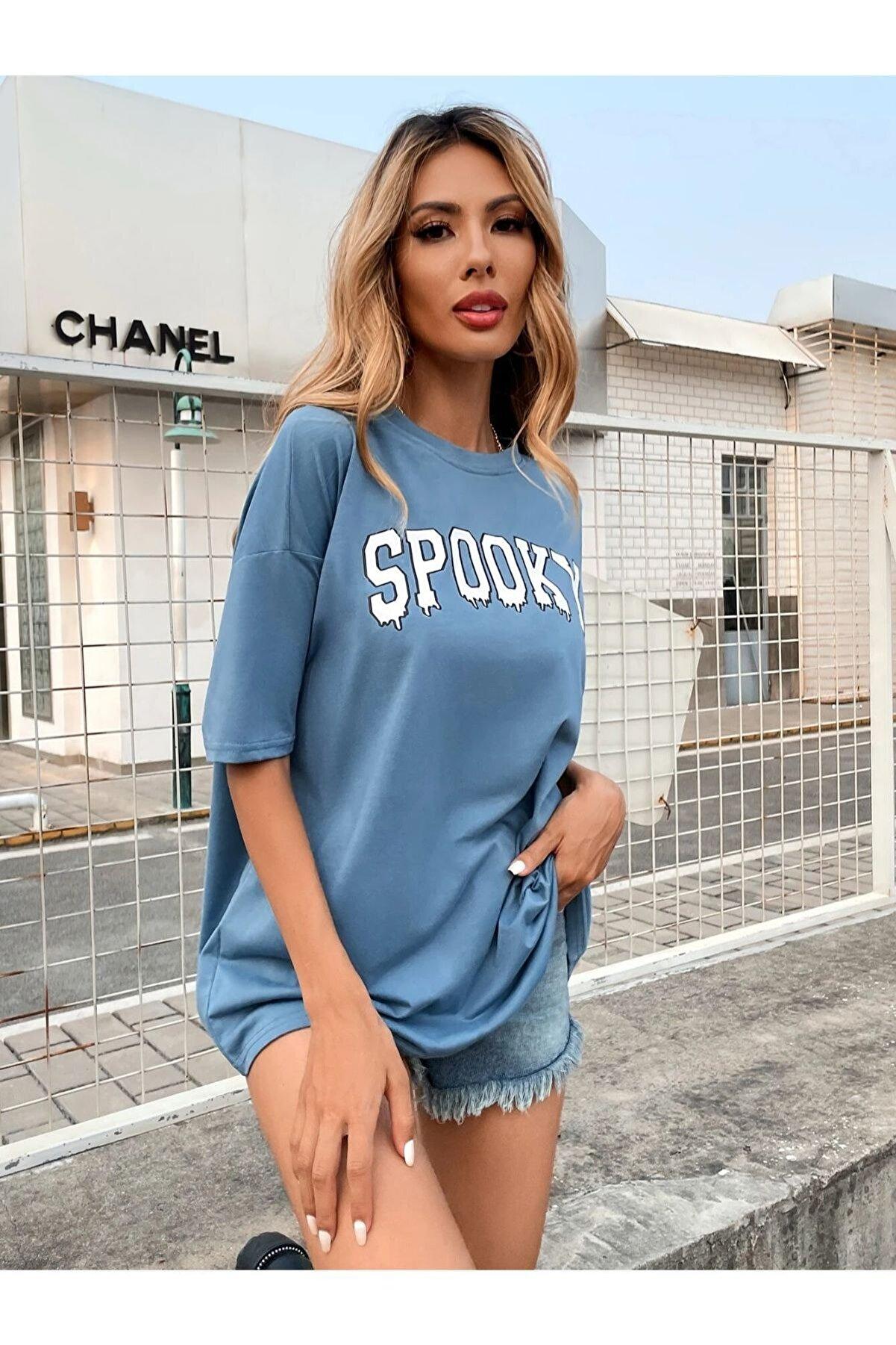 Black Sokak Kadın Açık Mavi Spooky Baskı Oversize Tshirt