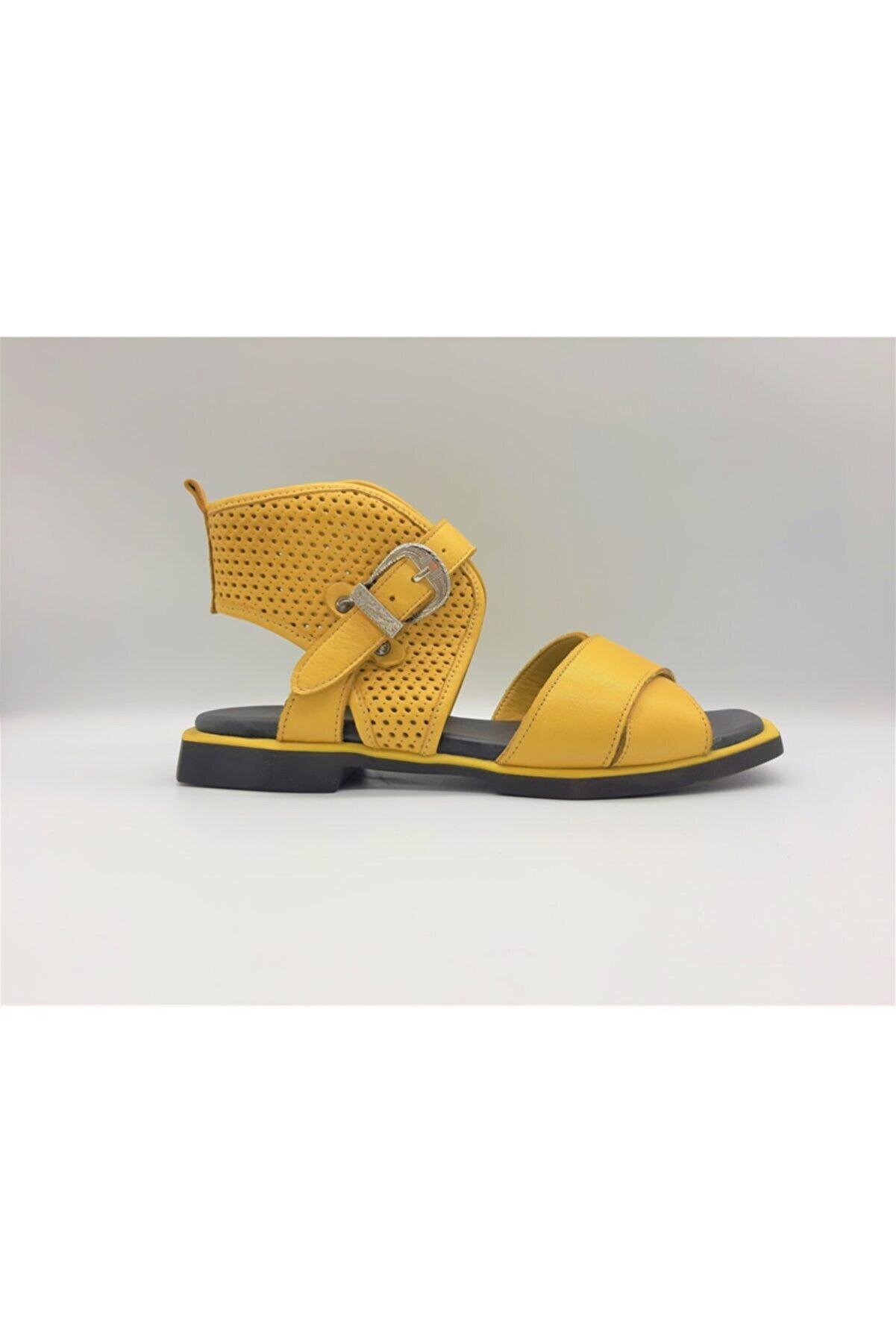 GOLDEN STEPS Gladyatör Tarz Kadın Sandalet-sarı