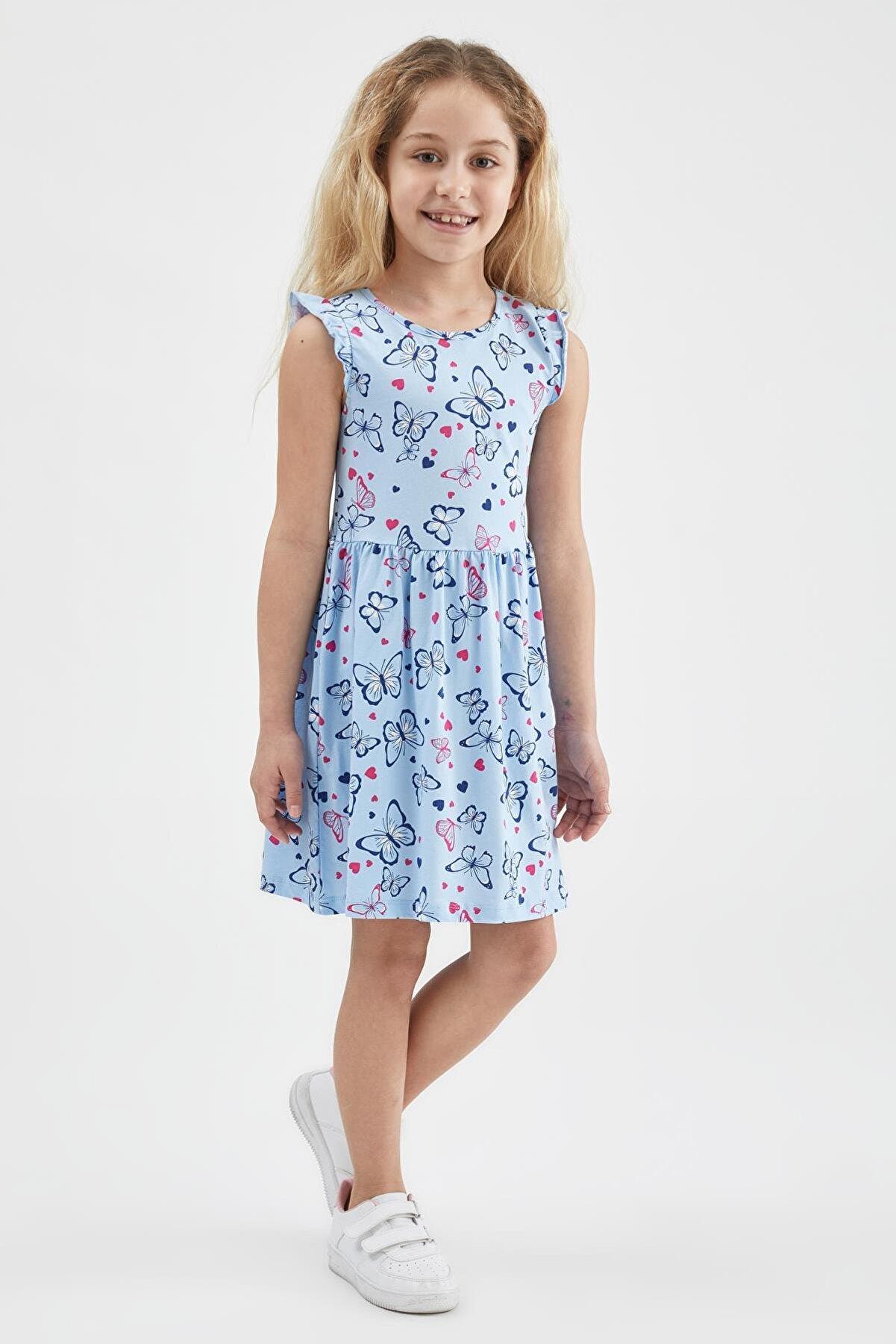 Defacto Kız Çocuk Kelebek Desenli Kolsuz Elbise