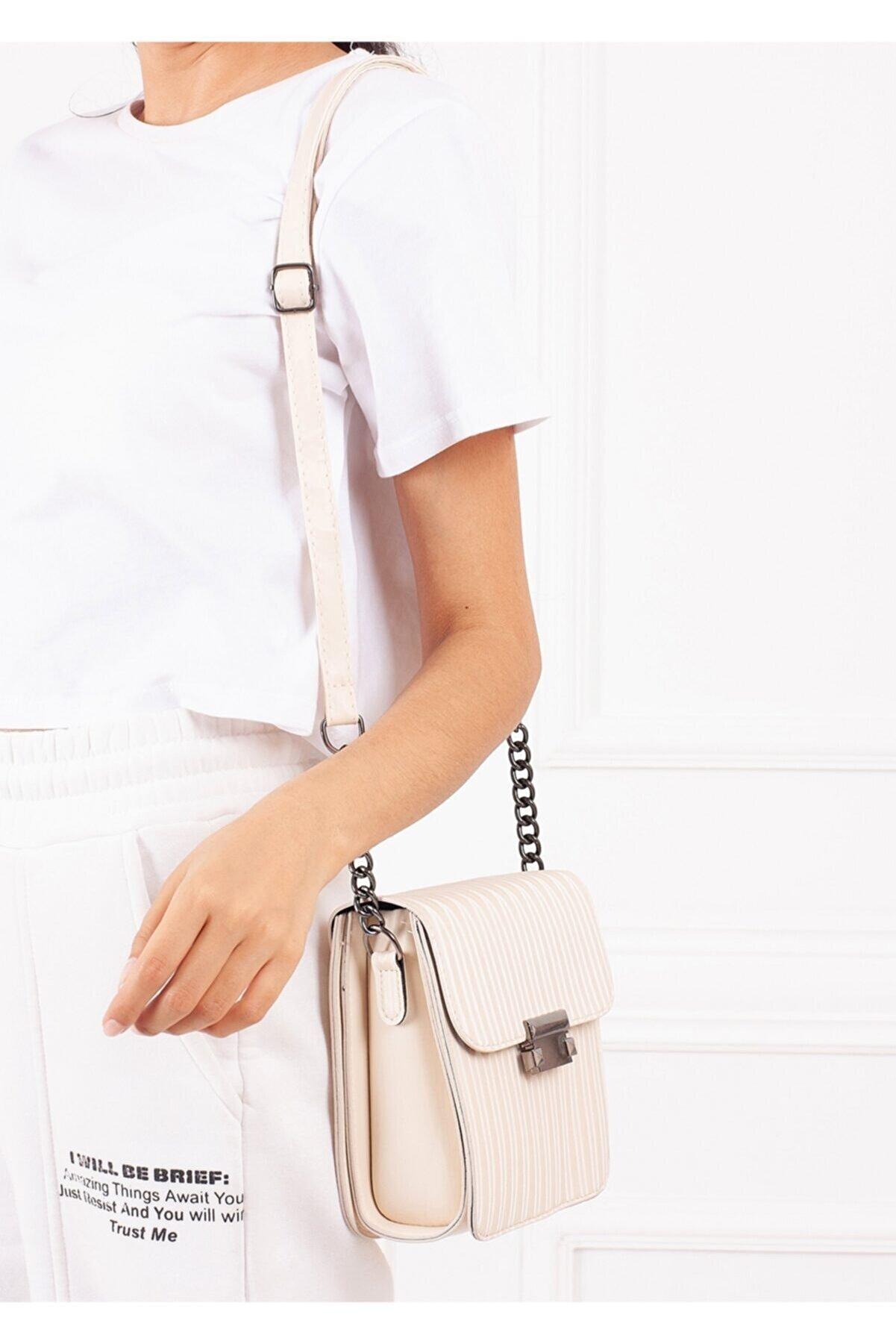 Gez çanta Kadın Krem Çizgi Desenli Pu Deri Üç Bölmeli Crossbody Çanta