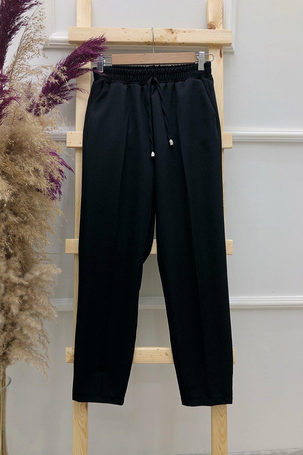 MODAQU Kadın Siyah Cepli Dar Paça Pantolon