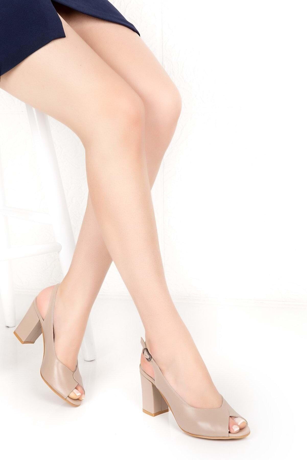 Gondol Kadın Hakiki Deri Klasik Topuklu Ayakkabı Şhn.0091 - Vizon - 38