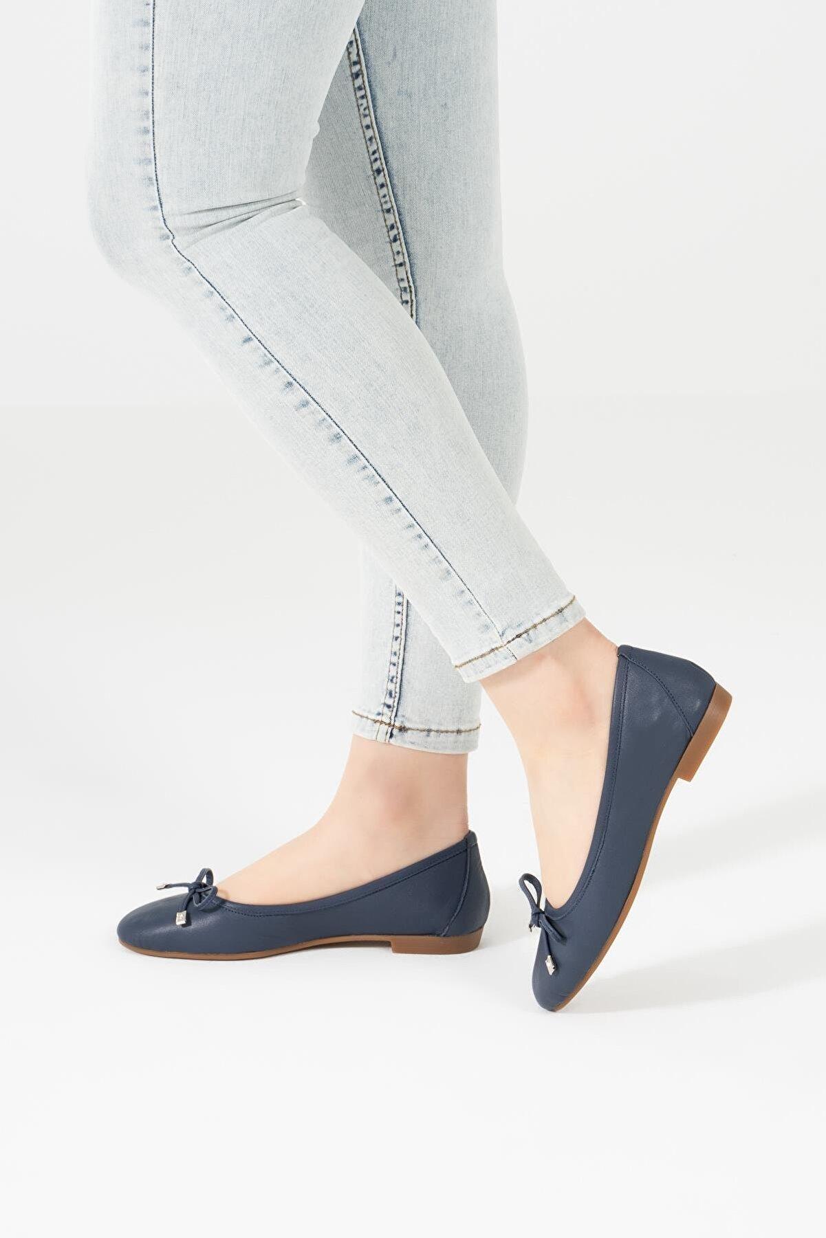 CZ London Deri Kadın Babet Kurdeleli Rahat Taban Yumuşak Ayakkabı