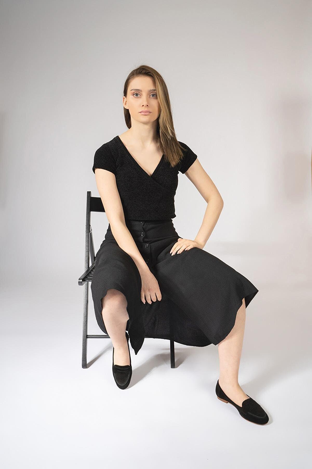 CZ London Hakiki Deri Kadın Babet Günlük Küçük Büyük Numara Loafer Ayakkabı