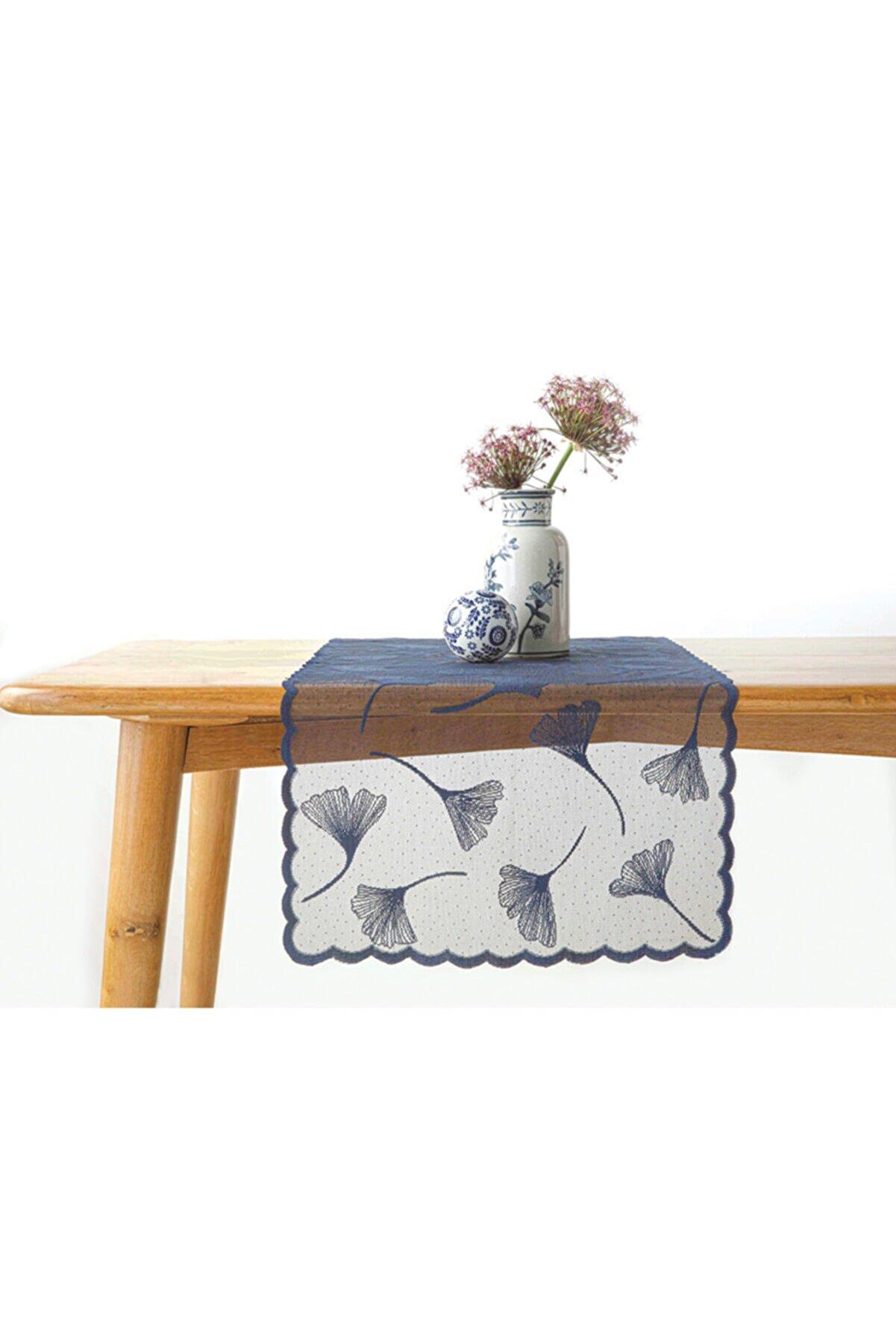 English Home Gingko Biloba Örme Runner 45x150 cm Lacivert