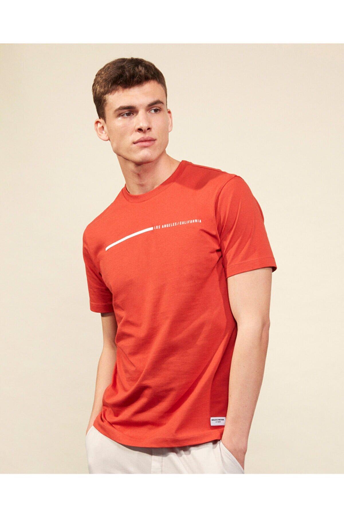 Skechers Graphic Tee M Crew Neck T-Shirt Erkek Turuncu Tshirt