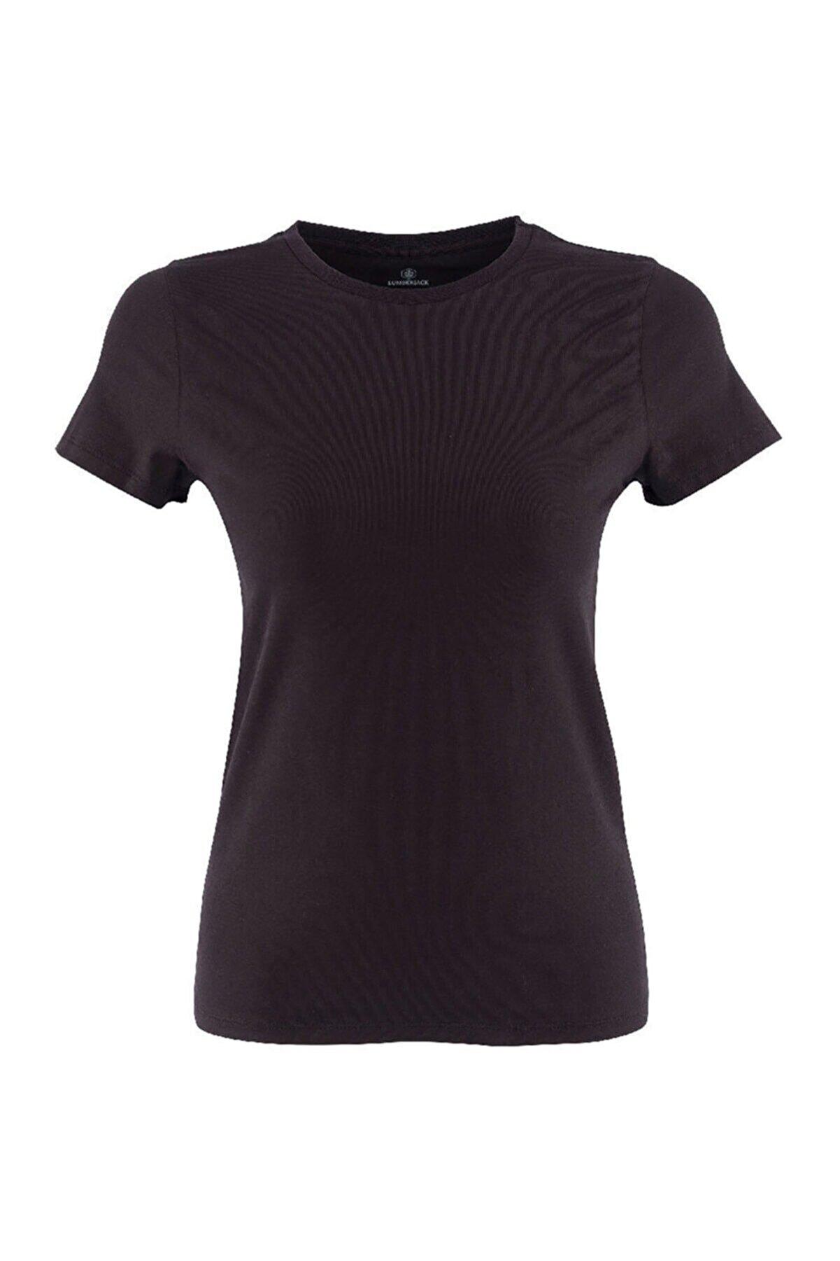 Lumberjack CT129 BASIC C NECK T-SHIR Siyah Kadın T-Shirt 100581832