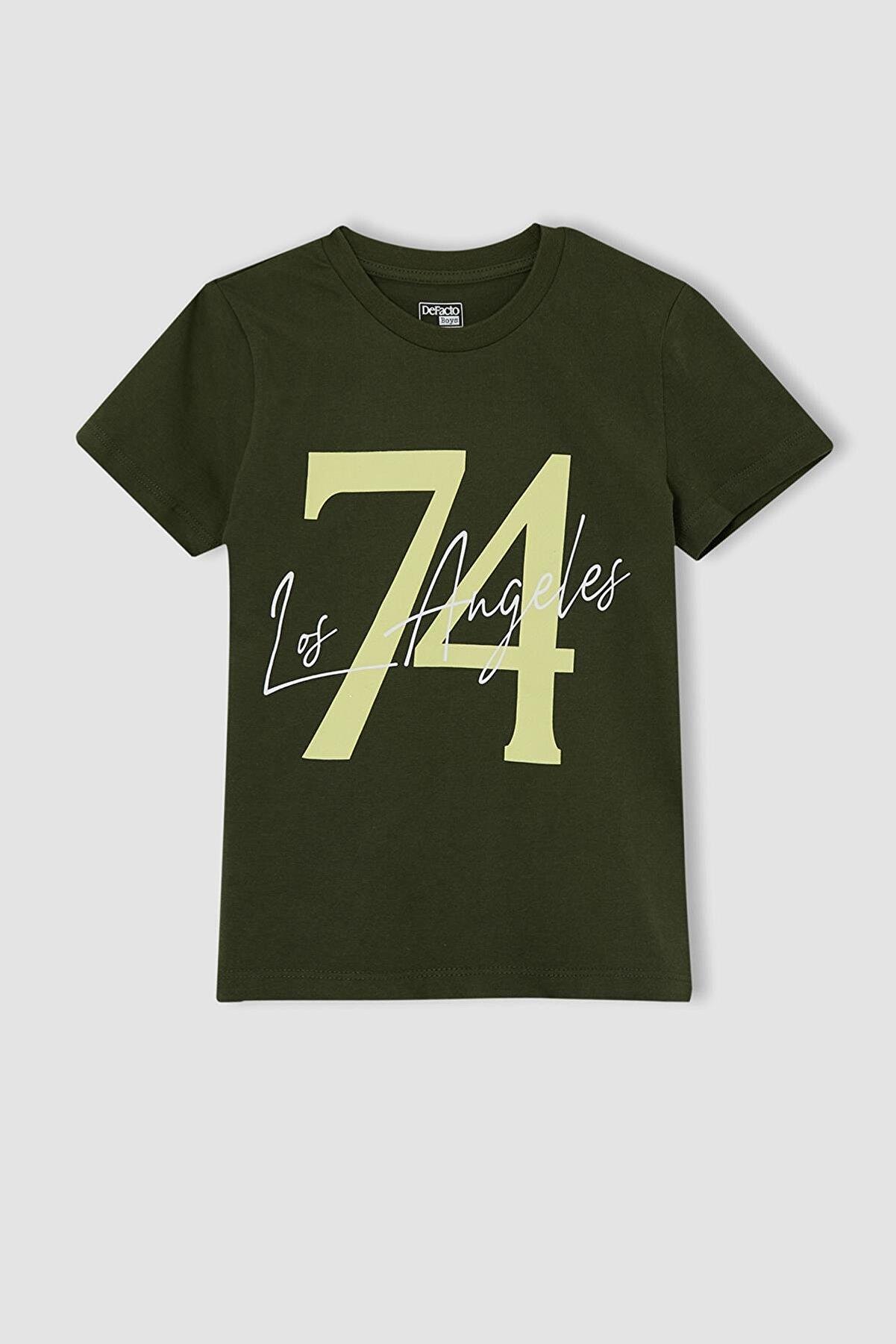 Defacto Erkek Çocuk Yeşil Yazı Baskılı Kısa Kollu T-Shirt