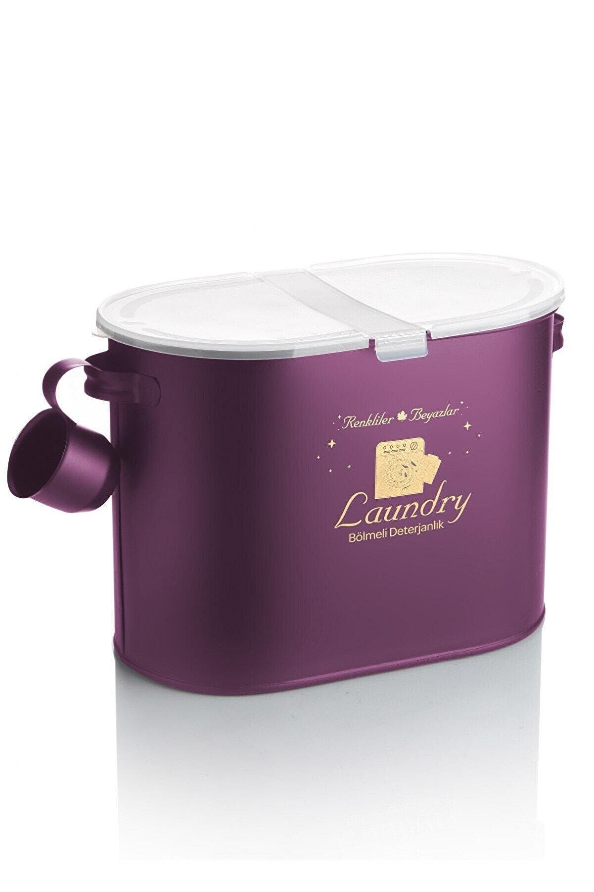 Laundry Metal 2 Bölmeli Deterjan Kutusu Lila 12 Lt