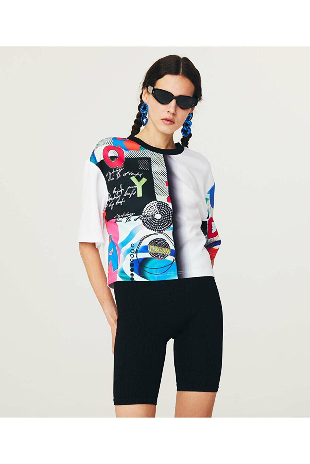 Twist Desen Mixli Crop T-shirt