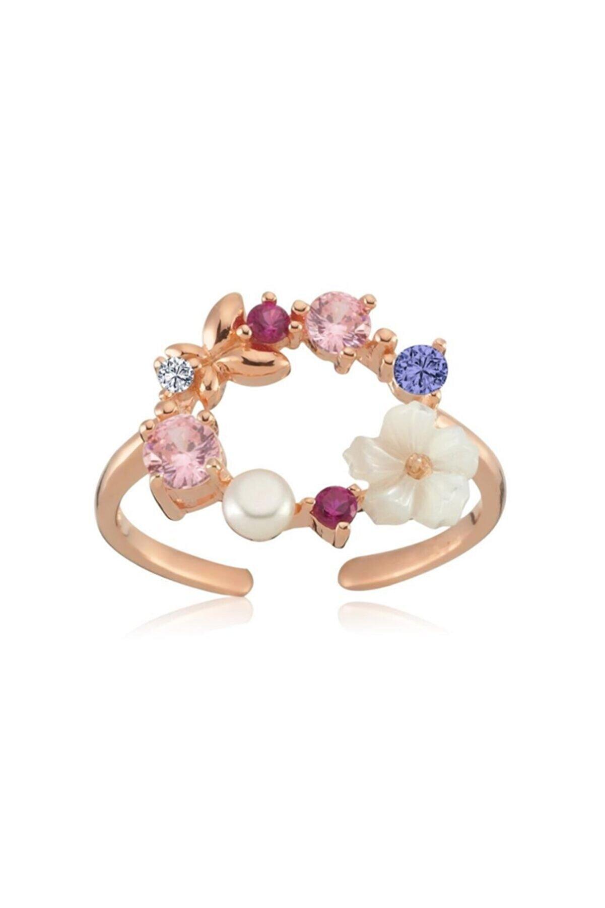 Mia Vento Işıltı Rüyası Rose Renk Manolya Çiçeği Gümüş Yüzük