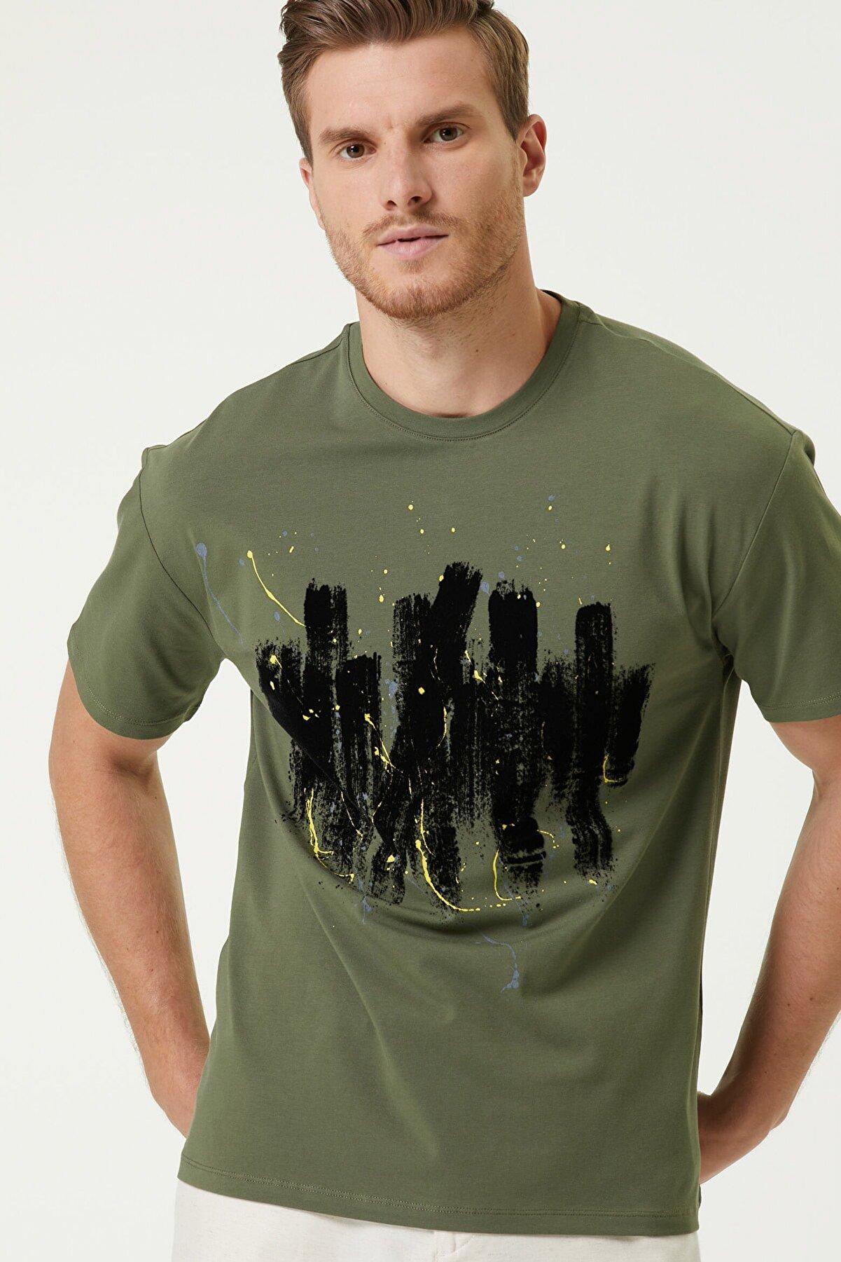 Network Erkek Slim Fit Haki Baskılı Bisiklet Yaka Basic T-shirt 1079841