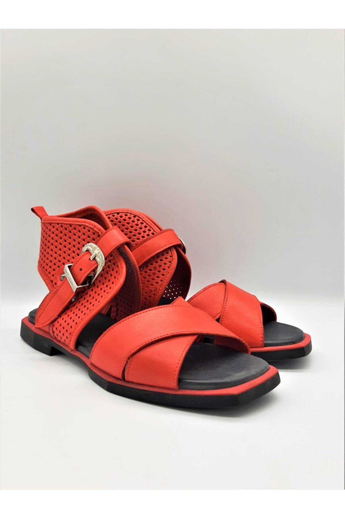 GOLDEN STEPS Gladyatör Tarz Kadın Sandalet-kırmızı