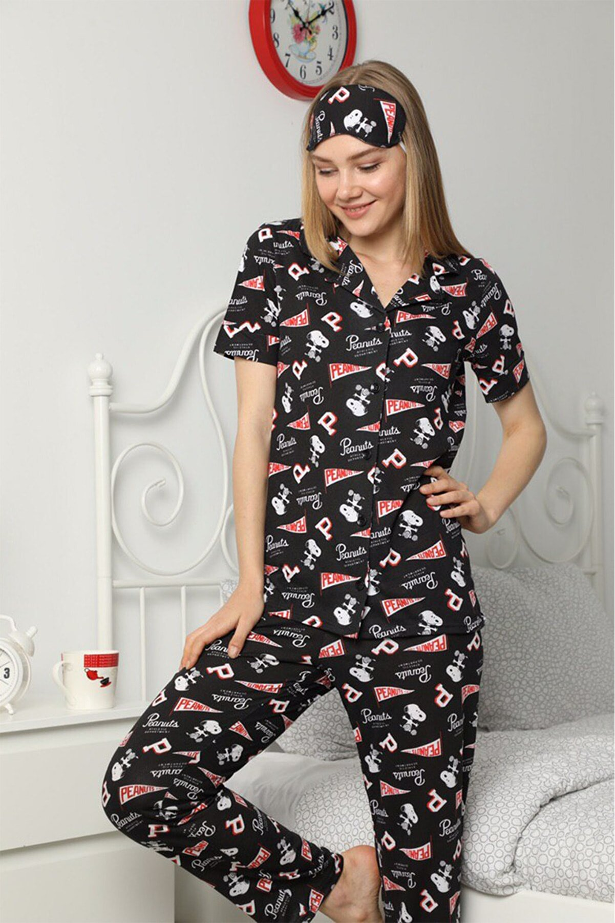 PEANUTS Düğmeli Kadın Pijama Takımı
