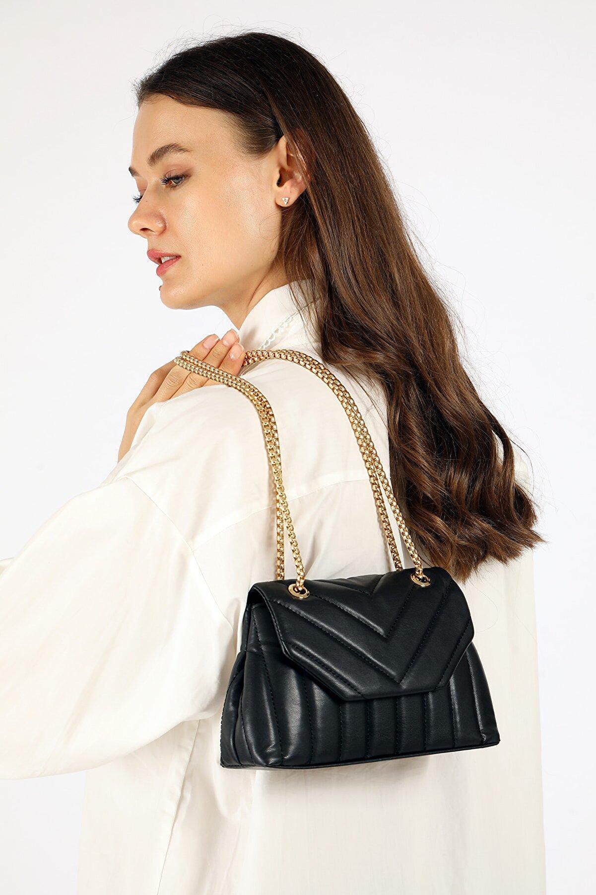 Etka Çanta Kadın Siyah Nakışlı Mini Gissle Çanta