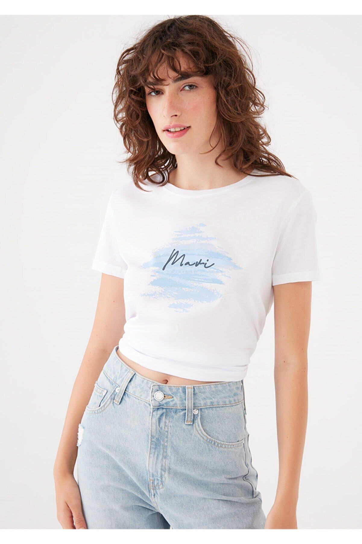 Mavi Baskılı Beyaz Tişört 1601197-620