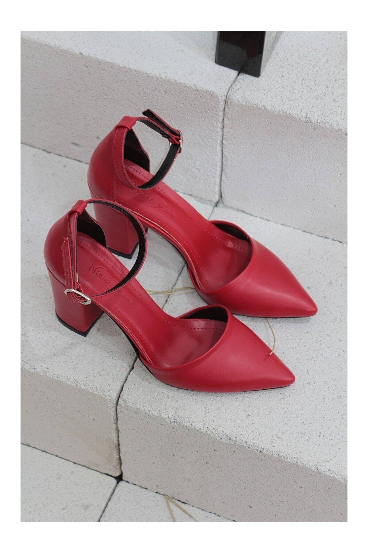 Nizar Deniz Kadın Kırmızı Sivri Burun Kalın Topuklu Ayakkabı