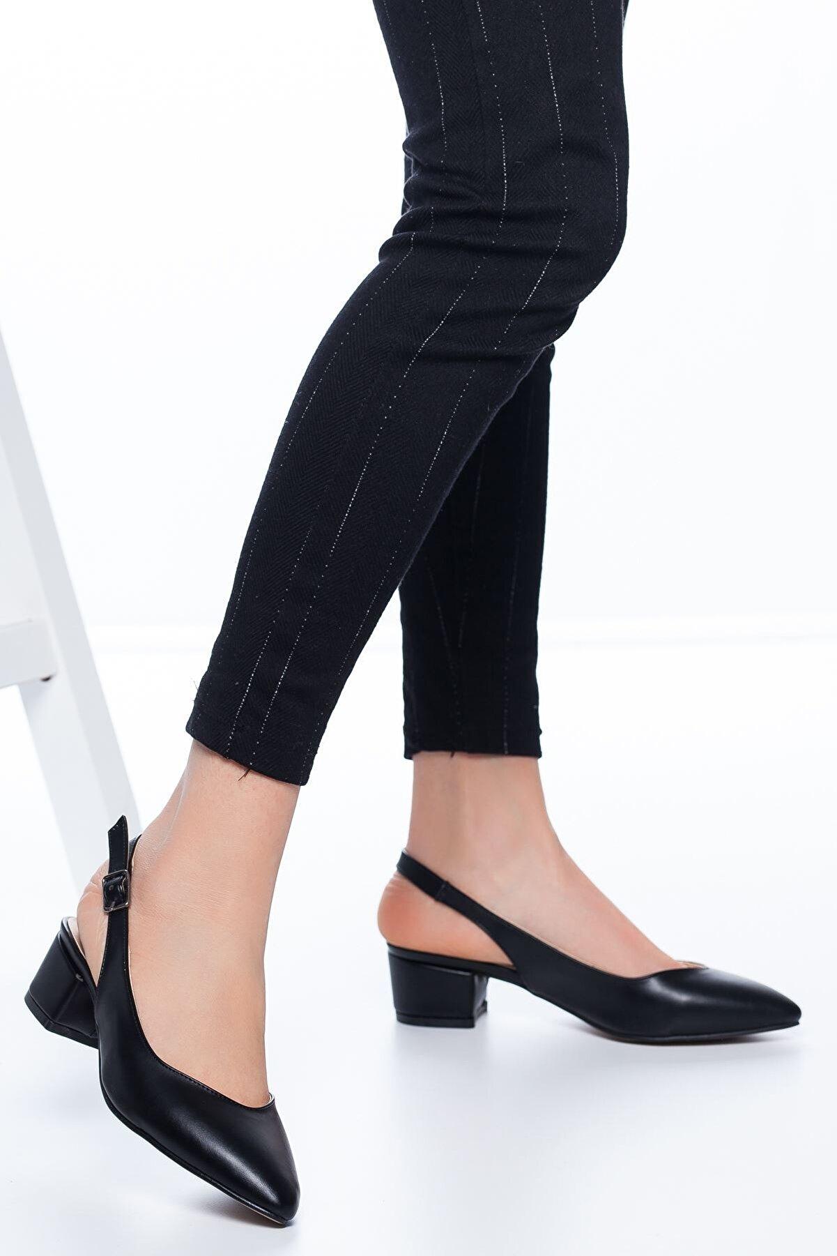 MaskButik Adesa Topuklu Cilt Ayakkabı Siyah