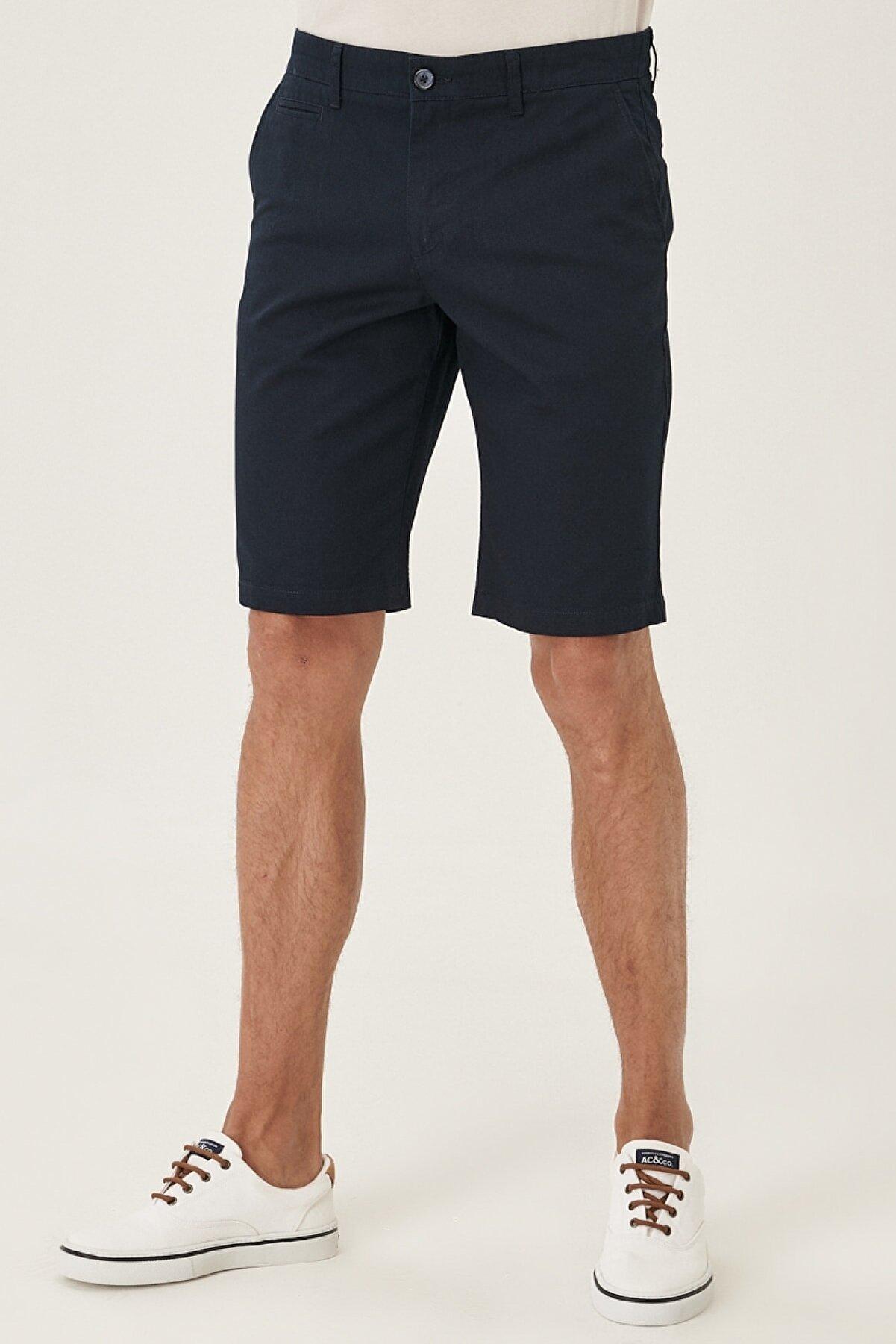 Altınyıldız Classics Erkek Lacivert Slim Fit Casual %100 Koton Chino Bermuda Şort