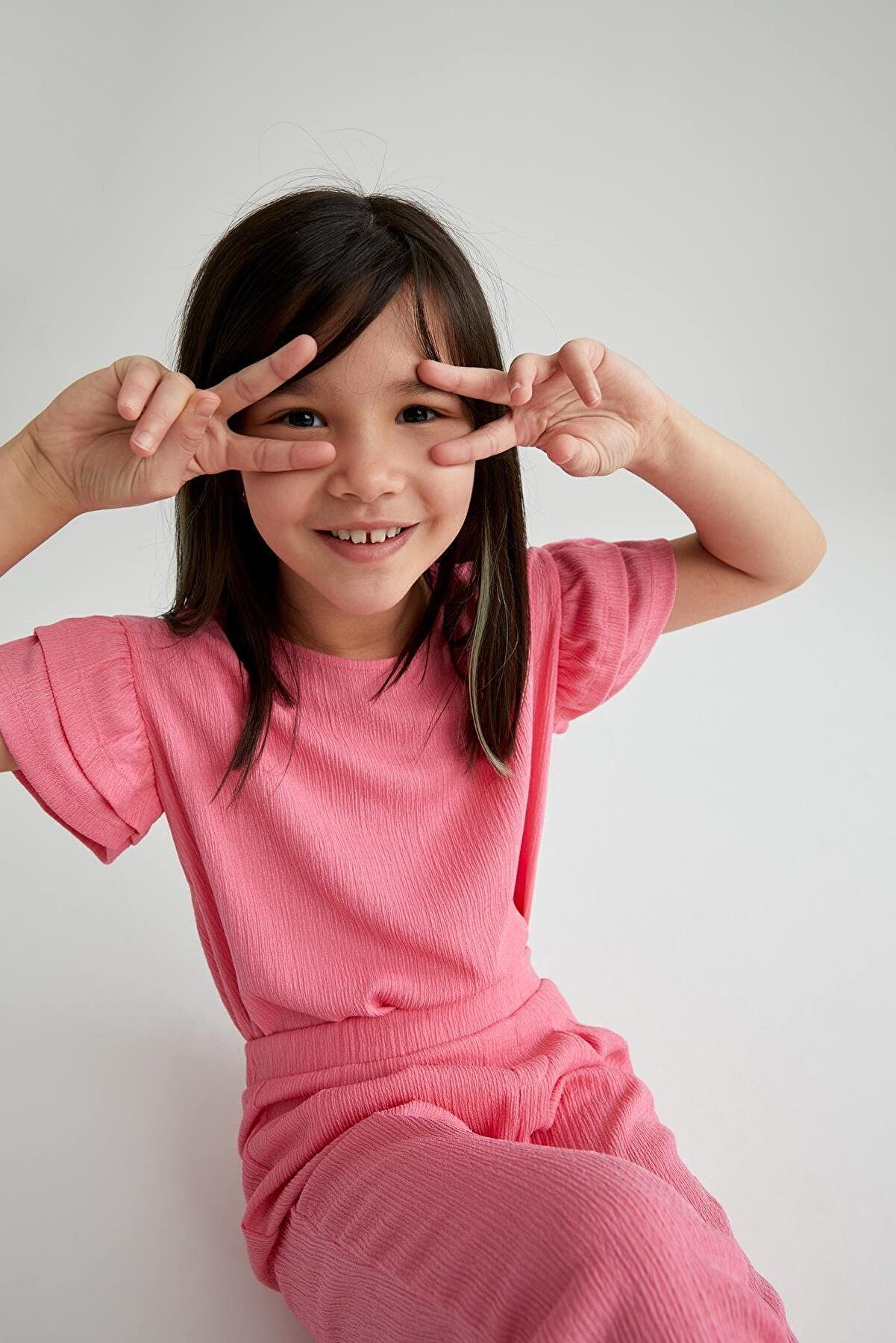 Defacto Kız Çocuk Pembe Volanlı Kısa Kol Tişört