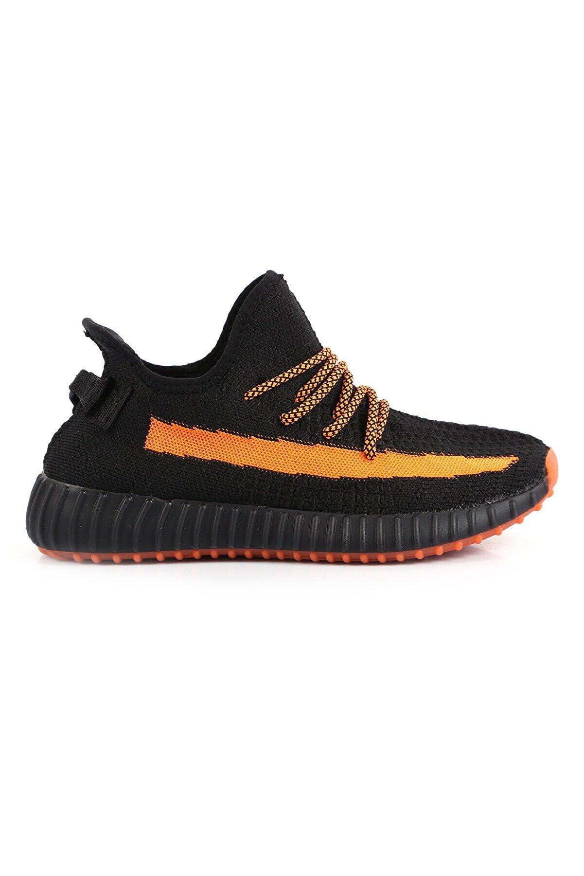 BLACK DEER Siyah Turuncu Runner Ortopedik Yazlık Sneaker Ayakkabı