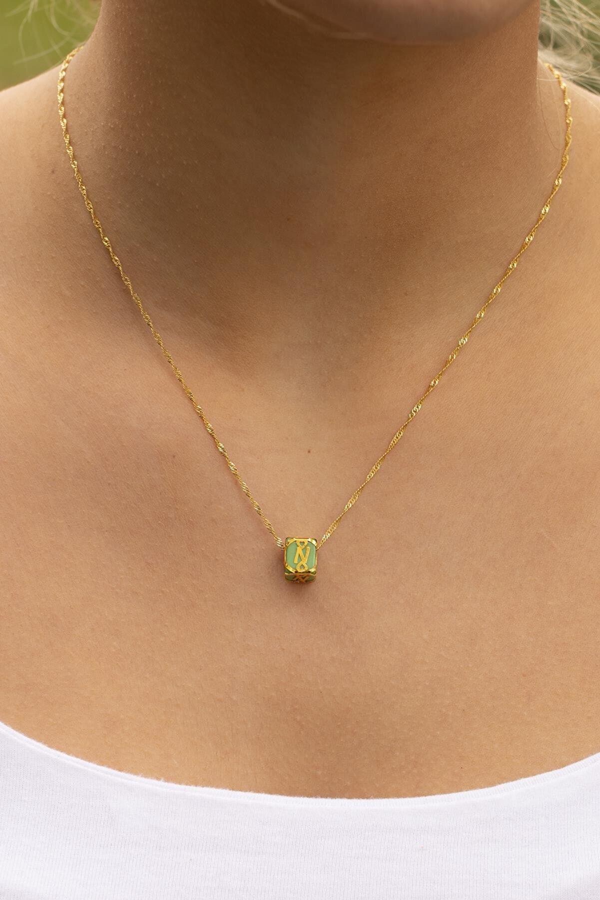 Bayar Gold Kadın Sarı Singapur Yeşil N Harfli Boncuklu Kafesli Altın Kolye