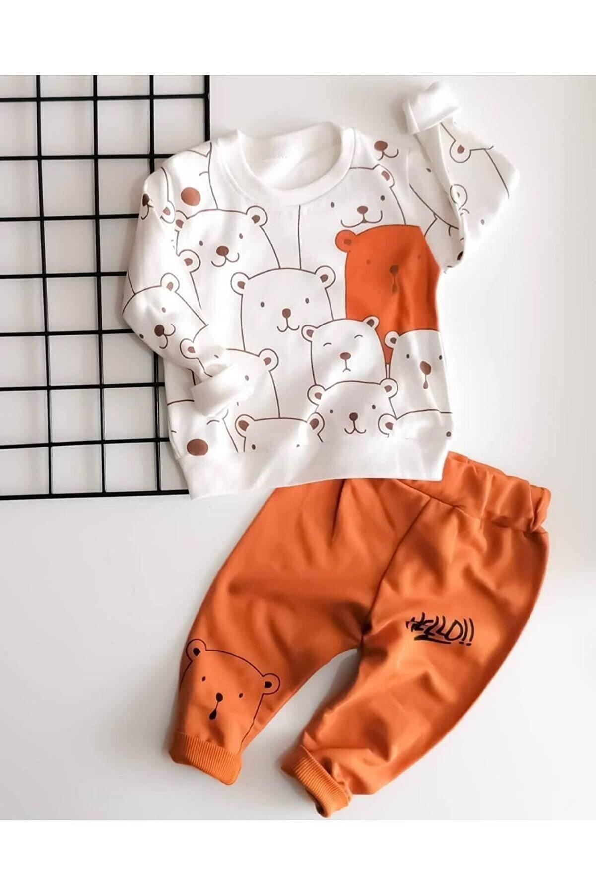 Beren Kids Hello Ayılar Desenli Bebek Alt Üst Takım