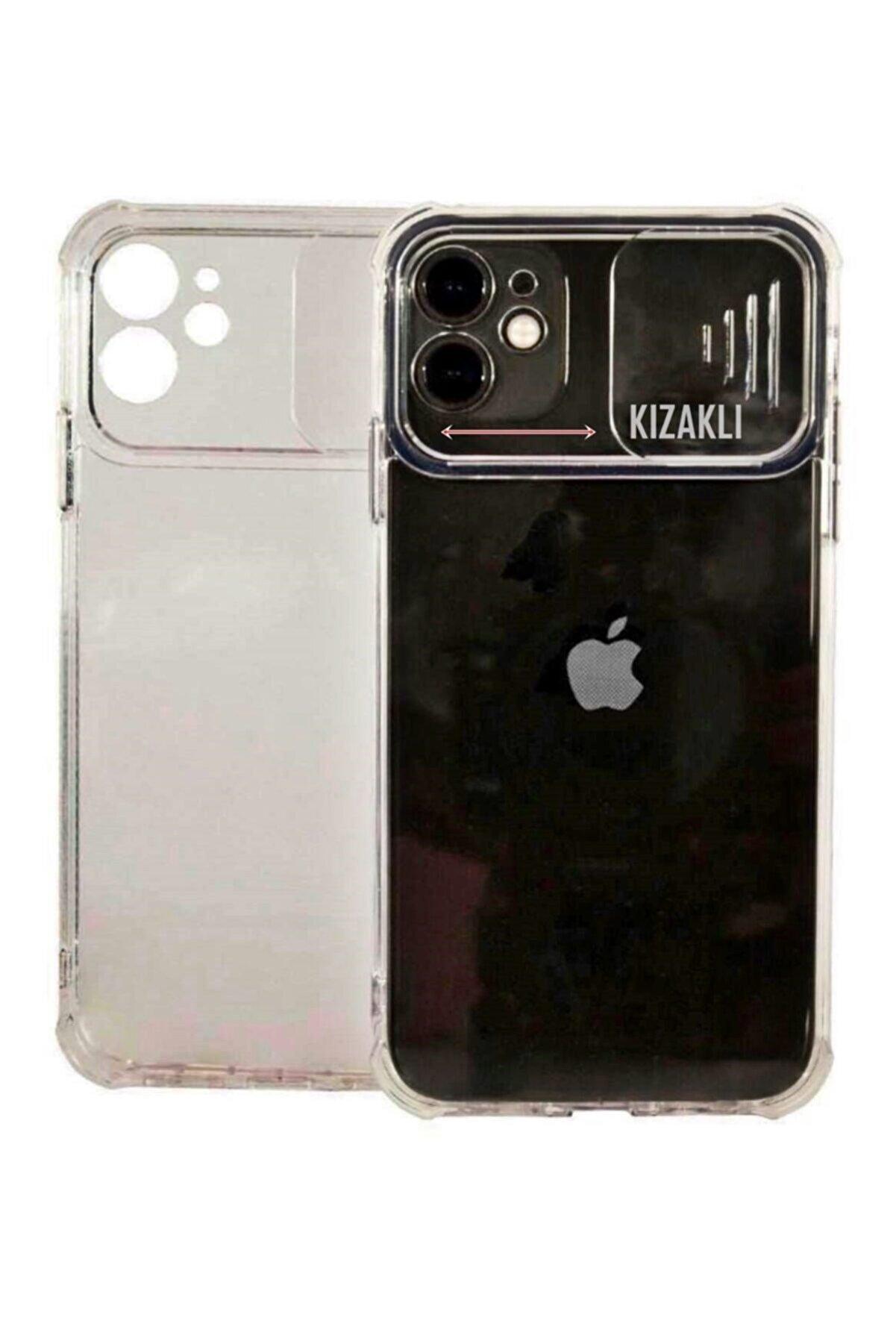 Sunix Apple Iphone 12 Pro Max Slikon Şeffaf Kamera Korumalı Kızaklı Sürgülü Kılıf