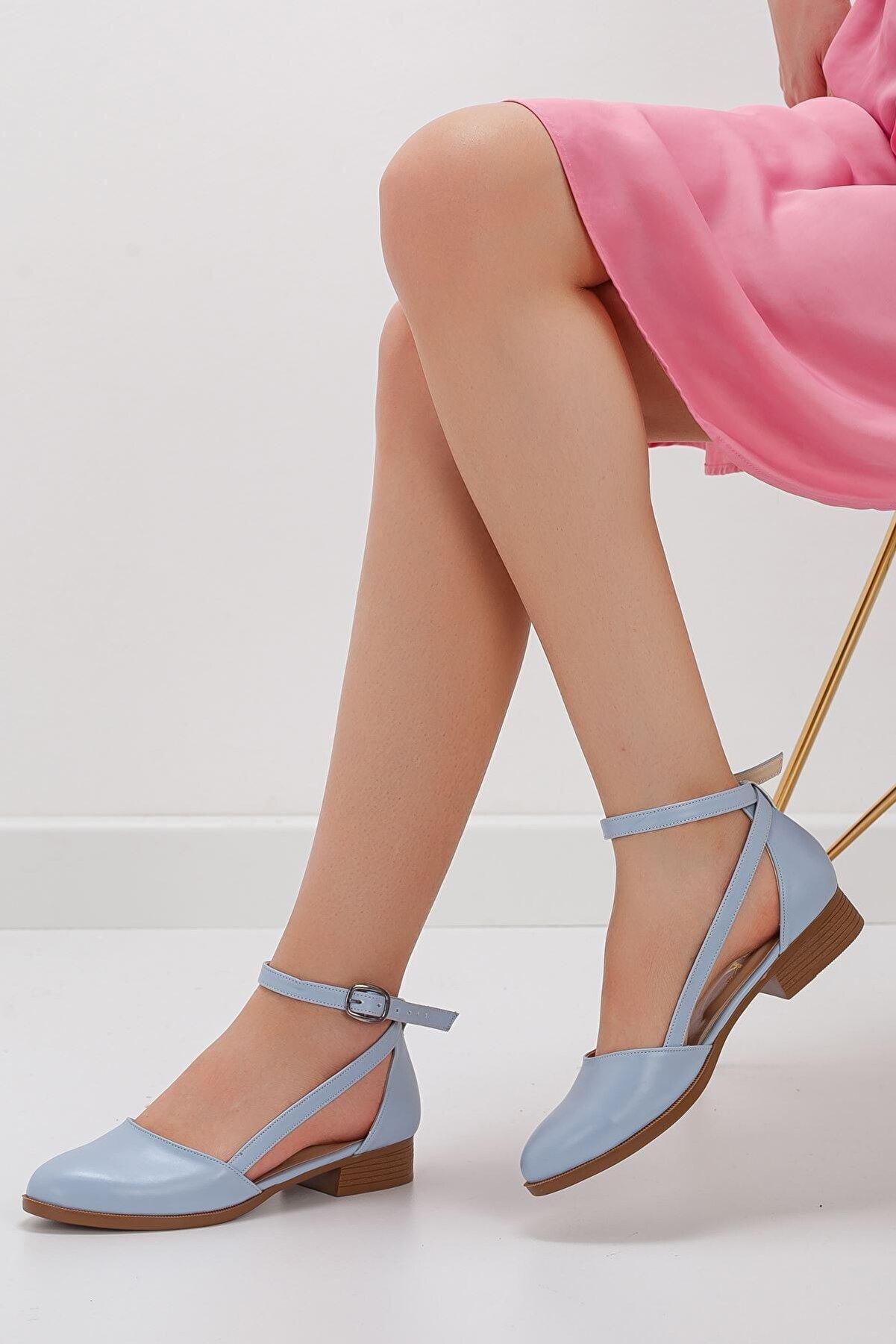 MaskButik Rayna Kısa Topuk Cilt Ayakkabı Mavi