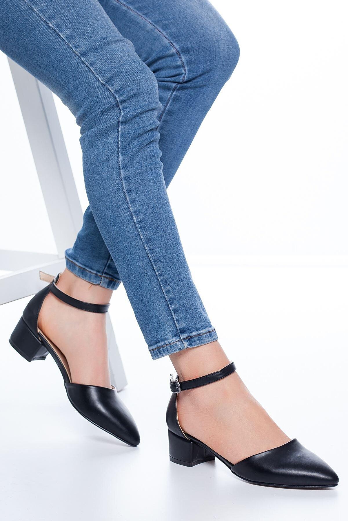 MaskButik Kadın Siyah Dulgina Topuklu Cilt Ayakkabı