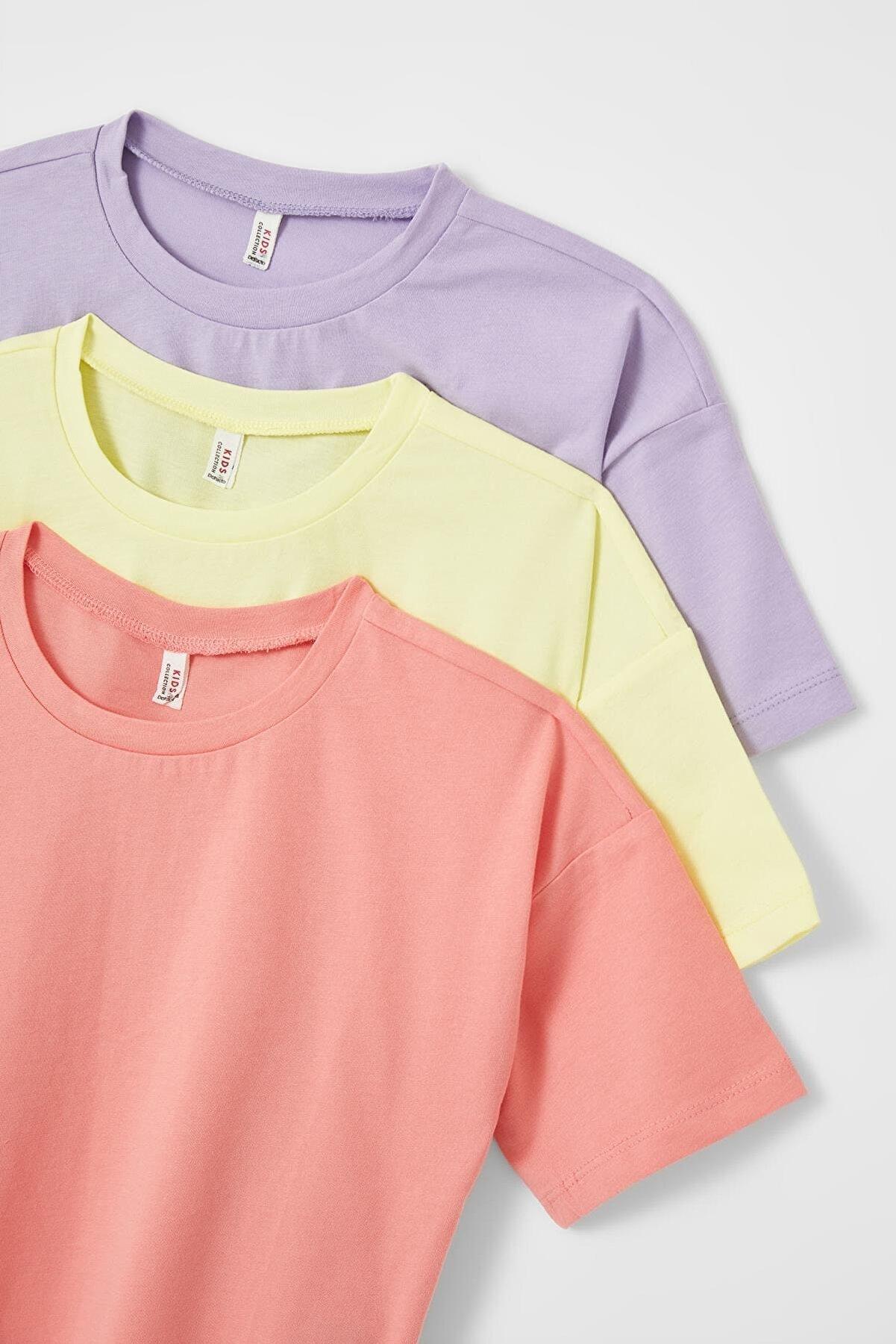 Defacto Kız Çocuk Basic 3'lü Kısa Kollu Tişört