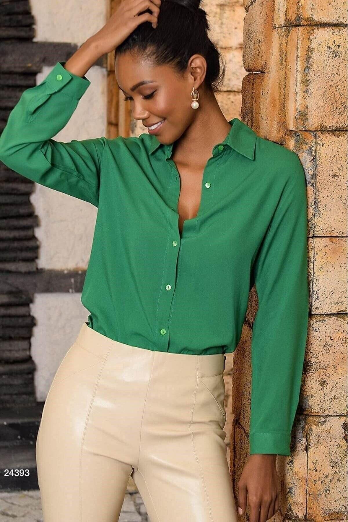 Mossta Kadın Yeşil Basic  Gömlek