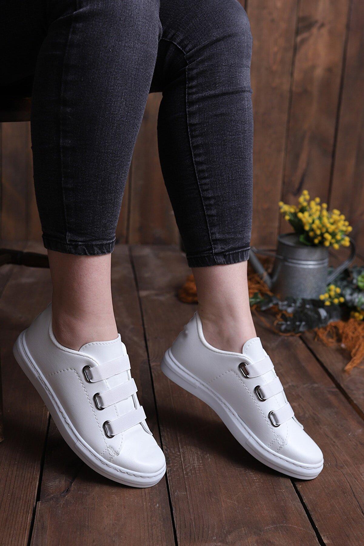 pasyone Kadın Beyaz Lastikli Casual Günlük Ayakkabı
