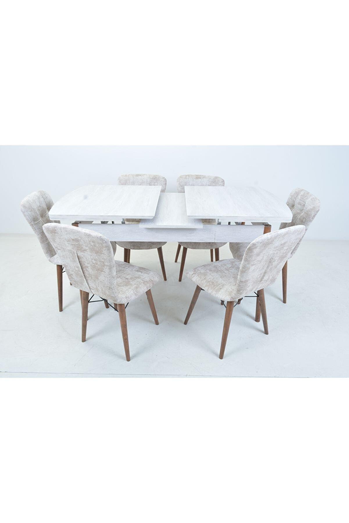 Mobildeco Işıl 6 Kişilik Kelebek Açılır Yemek Masa Sandalye Takım